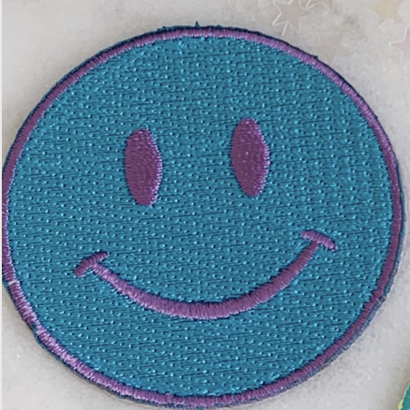Blue/Purple Smile - Iron-On Patch-Little Hooligans Co.