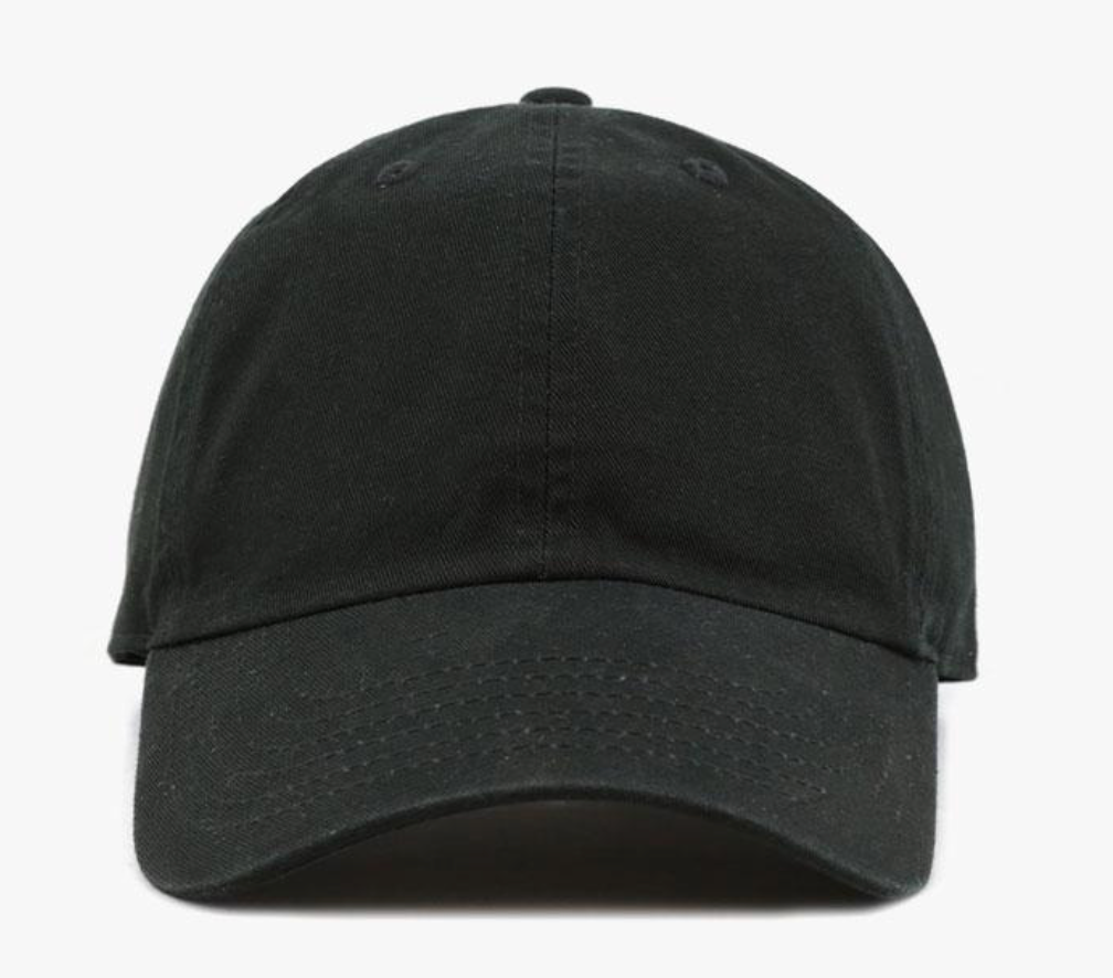 Black Cotton Washed Baseball Cap-Little Hooligans Co.