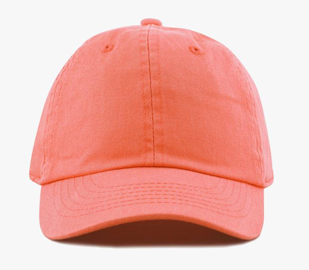 Coral Cotton Washed Baseball Cap-Little Hooligans Co.