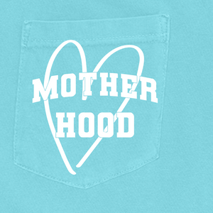 Motherhood Heart - Unisex Aqua Pocket Comfort Colors Tee-Little Hooligans Co.