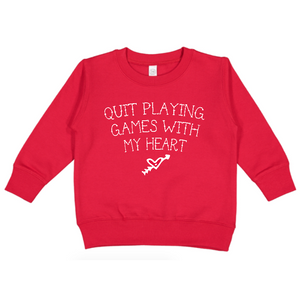 Quit Playing Games With My Heart - Red Pullover-Little Hooligans Co.