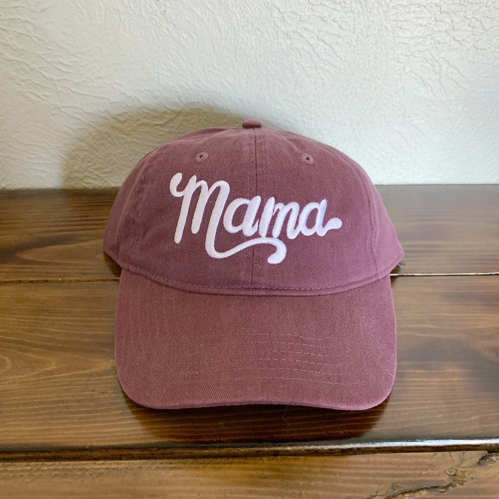 Mama - Wine Embroidered Hat-Little Hooligans Co.