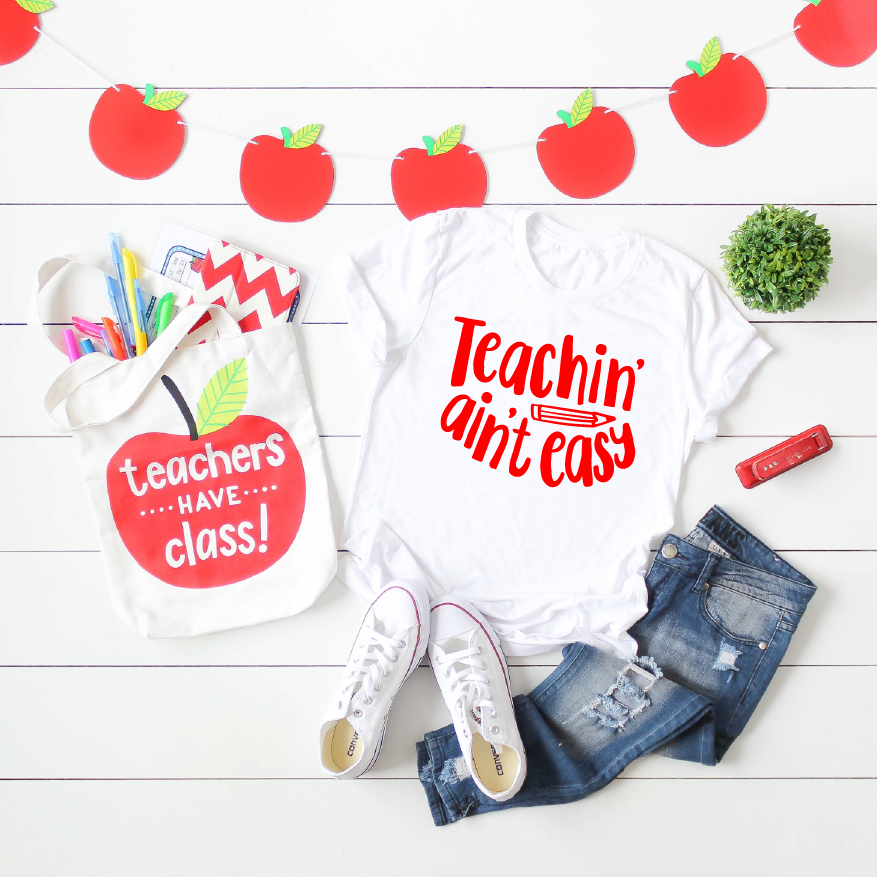Teachin' Ain't Easy - Unisex White + Red Crewneck-Little Hooligans Co.