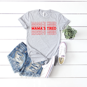 Mama's Tired {repeat} - Grey + Red Unisex Crewneck-Little Hooligans Co.