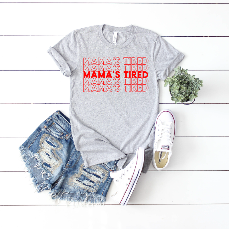 Mama's Tired {repeat} - Grey + Red Unisex Crewneck - Little Hooligans Co.