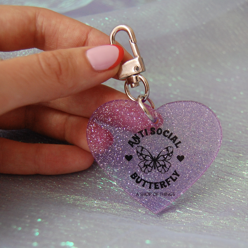 Anti-Social Glitter Keychain-Little Hooligans Co.