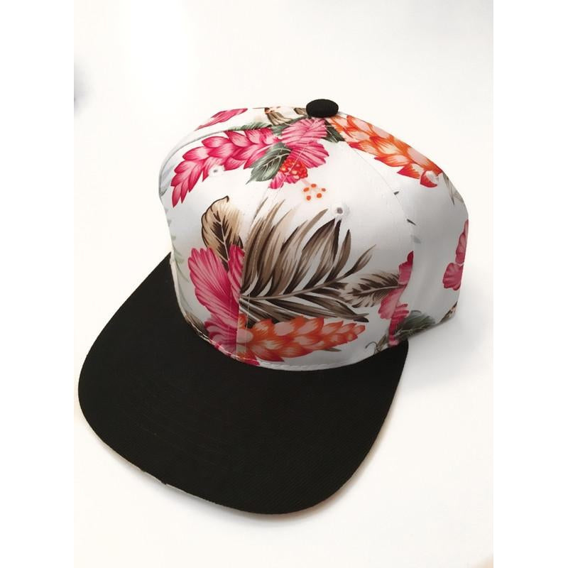 White & Pink Floral Snapback-Little Hooligans Co.
