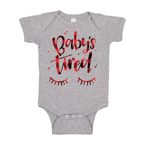 Baby's Tired - Grey + Plaid Bodysuit-Little Hooligans Co.