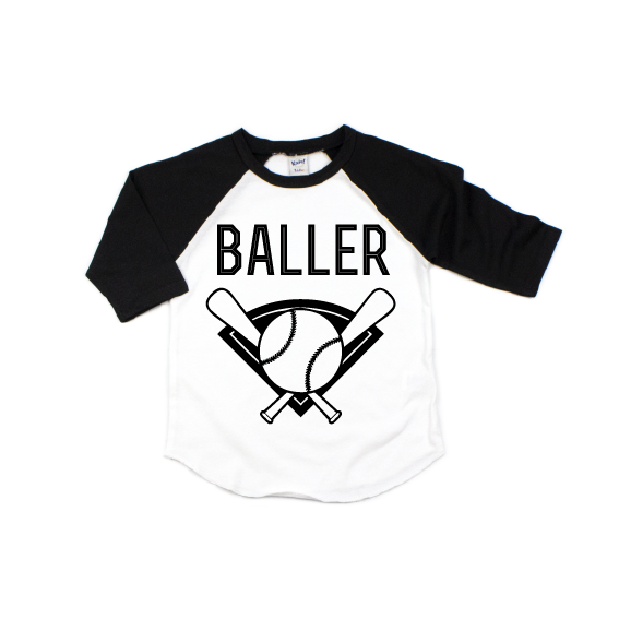Baller - Kids Raglan - Little Hooligans Co.