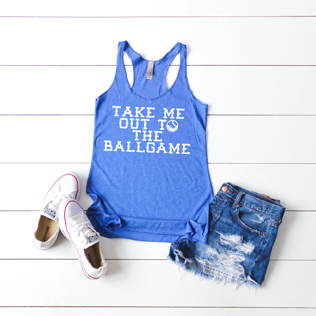 Take Me Out To The Ballgame - Womens Racerback Tank-Little Hooligans Co.
