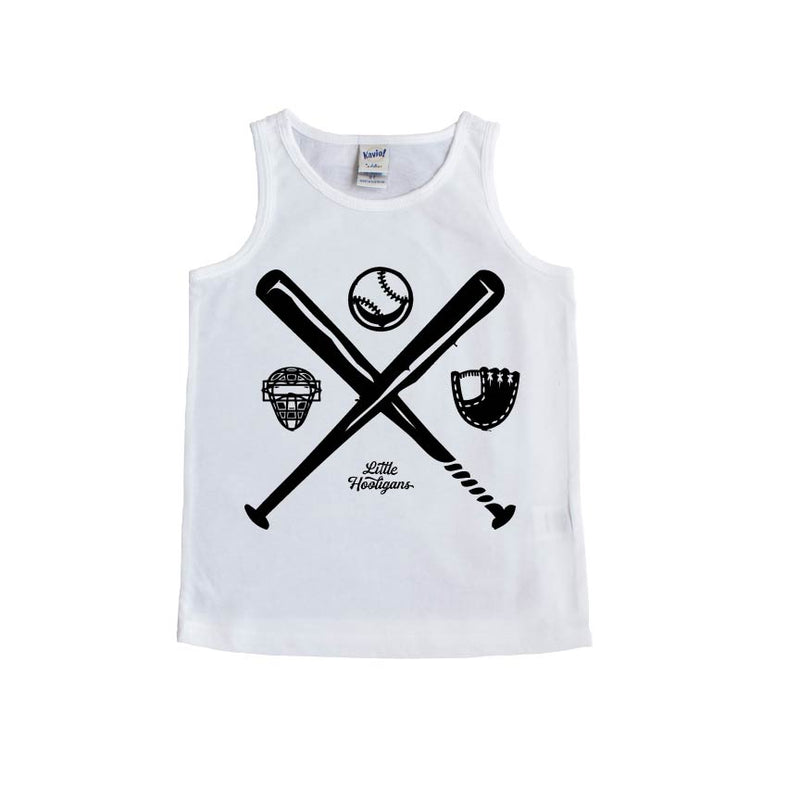 Baseball - White Tank - Little Hooligans Co.