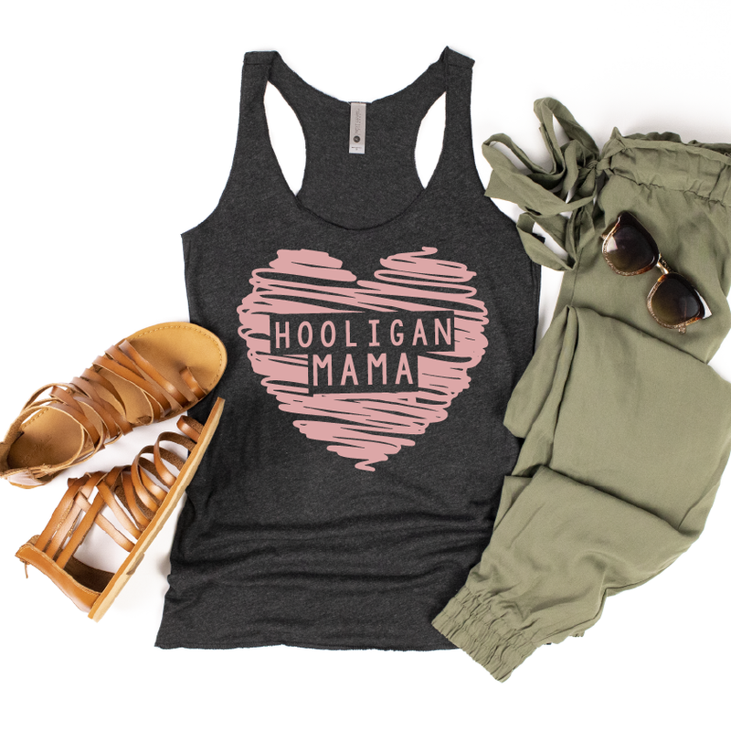 Hooligan Mama - Womens Heather Black Tank-Little Hooligans Co.