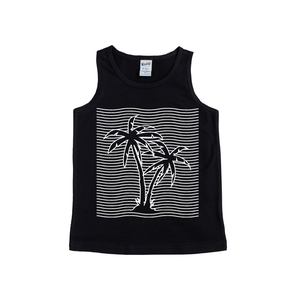 Palm Trees - Black Tank-Little Hooligans Co.