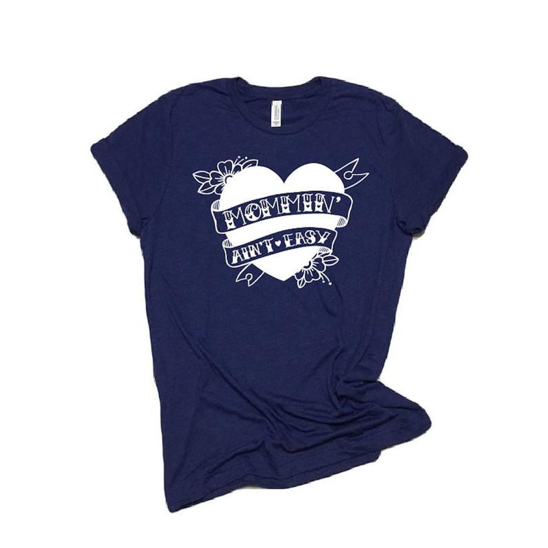 Navy Tattoo Mommin' Ain't Easy™ Tee - Unisex-Little Hooligans Co.