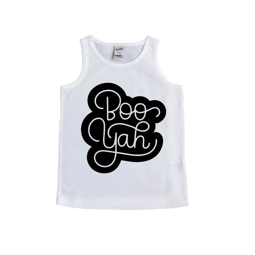 Boo Yah - White + Black Tank-Little Hooligans Co.