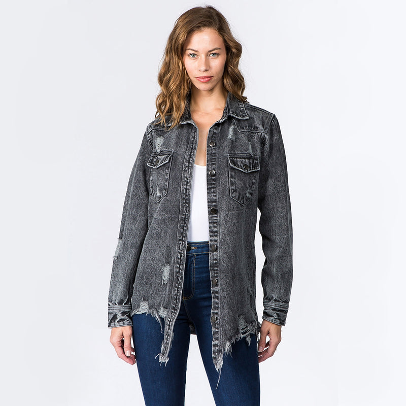 Distressed Oversized Denim Jacket - Gunmetal Wash-Little Hooligans Co.