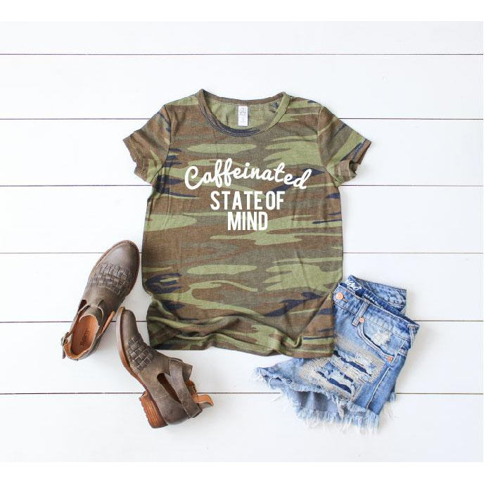 Caffeinated State of Mind - Camo Tee-Little Hooligans Co.