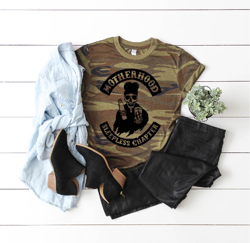 Motherhood Sleepless Chapter - Unisex Camo Tee-Little Hooligans Co.