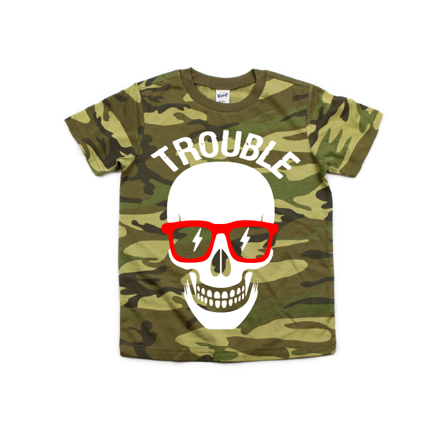 Trouble - Camo Tee-Little Hooligans Co.