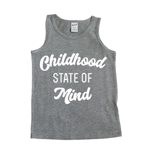 Childhood State of Mind - Grey + White Tank-Little Hooligans Co.