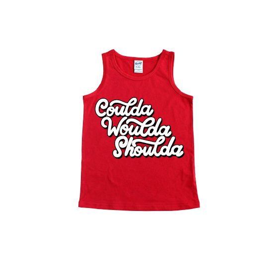 Coulda Woulda Shoulda - Red + Black/White Tank-Little Hooligans Co.