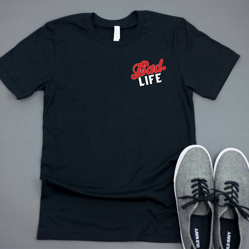 Dad Life {Chest Logo} - Unisex Black Crewneck - Little Hooligans Co.