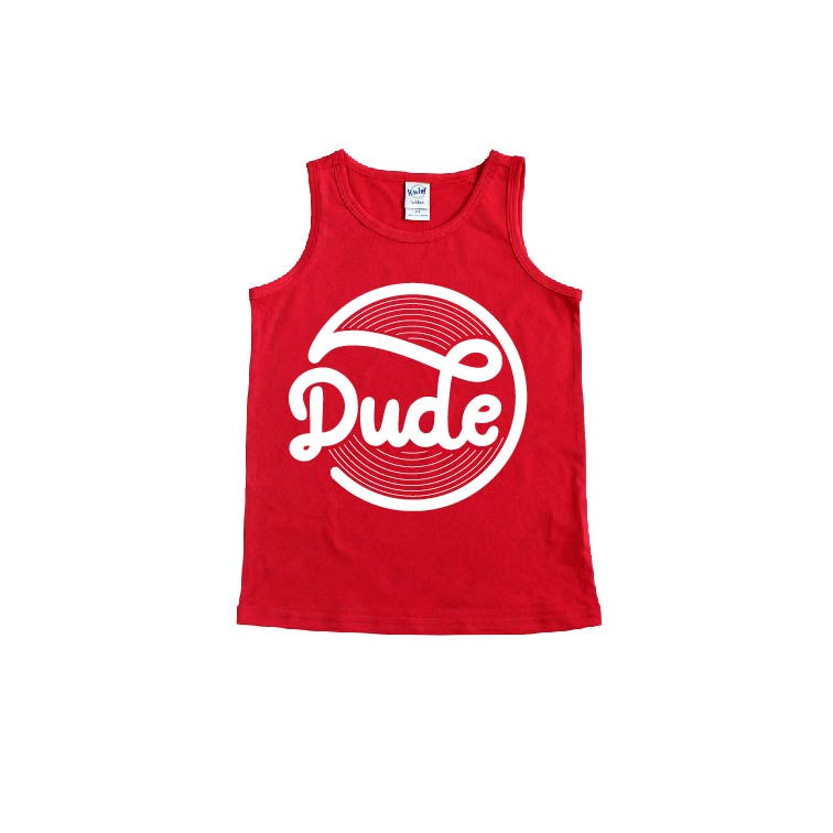 Dude - Red + White Tank-Little Hooligans Co.