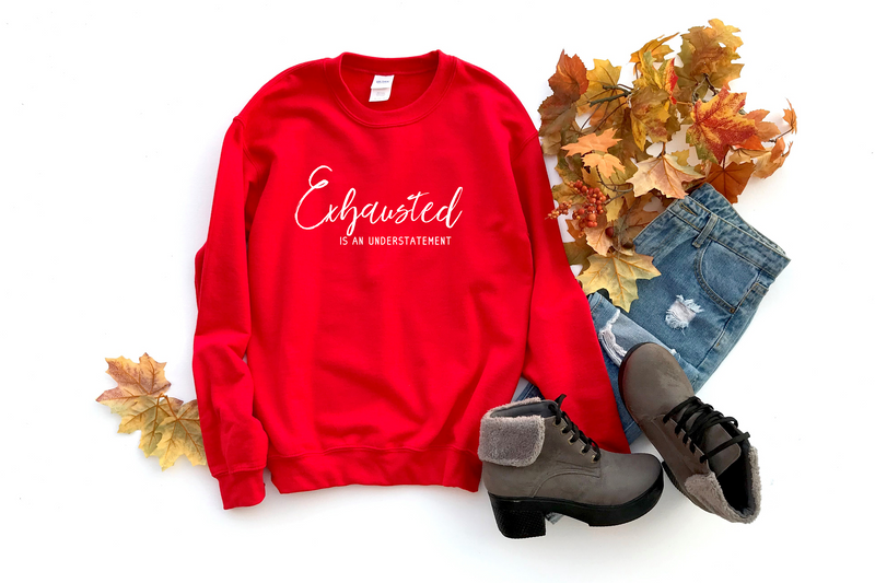 Exhausted Is An Understatement - Unisex Red Pullover-Little Hooligans Co.