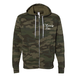 F* Bomb Mom - Unisex Camo Zip-Up-Little Hooligans Co.