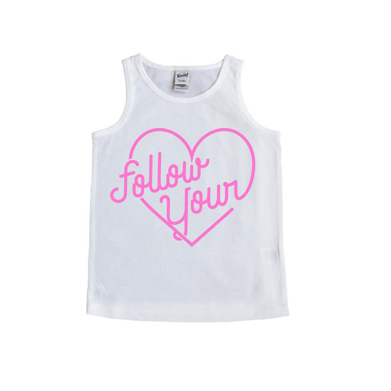 Follow Your Heart - White + Pink Tank-Little Hooligans Co.