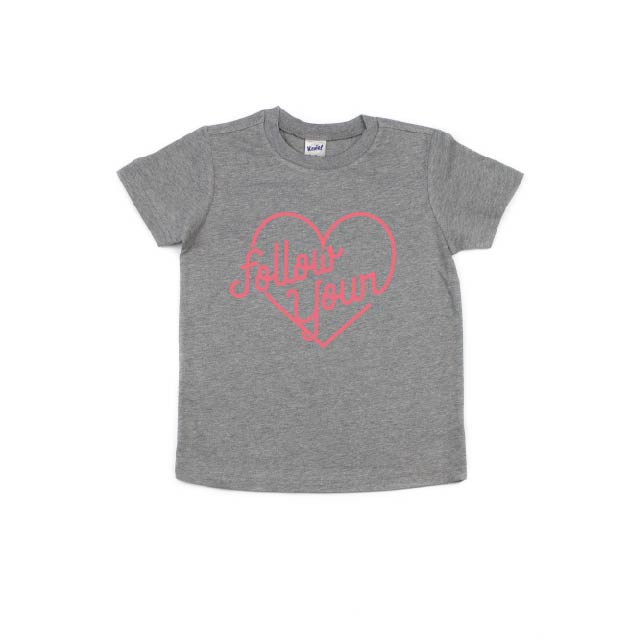 Follow Your Heart - Grey Tee-Little Hooligans Co.