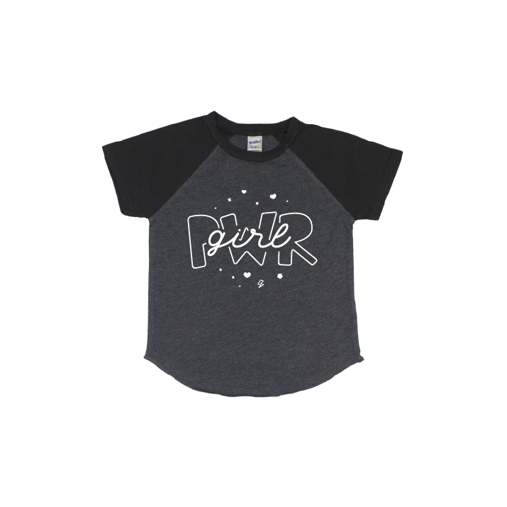 Girl Power - Black/Charcoal Short Sleeve Raglan - Little Hooligans Co.