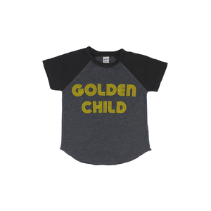 Golden Child - Charcoal/Black Short Sleeve Raglan-Little Hooligans Co.
