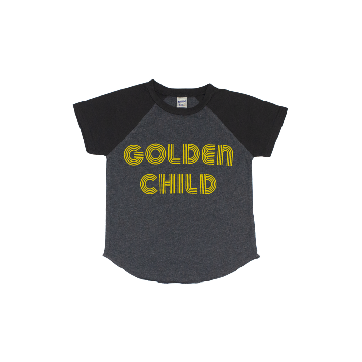 Golden Child - Charcoal/Black Short Sleeve Raglan - Little Hooligans Co.