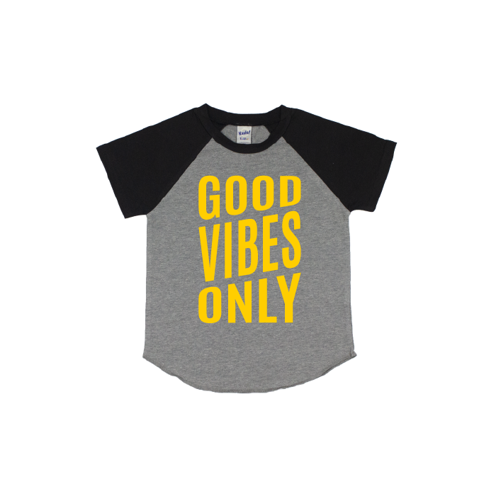 Good Vibes - Grey/Black Short Sleeve Raglan - Little Hooligans Co.