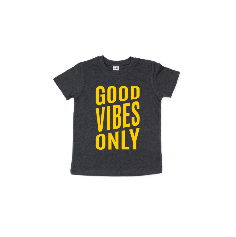 Good Vibes - Charcoal Tee-Little Hooligans Co.
