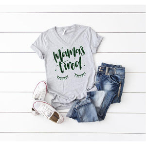 Unisex Grey V-Neck - Plaid Mamas Tired - Little Hooligans Co.