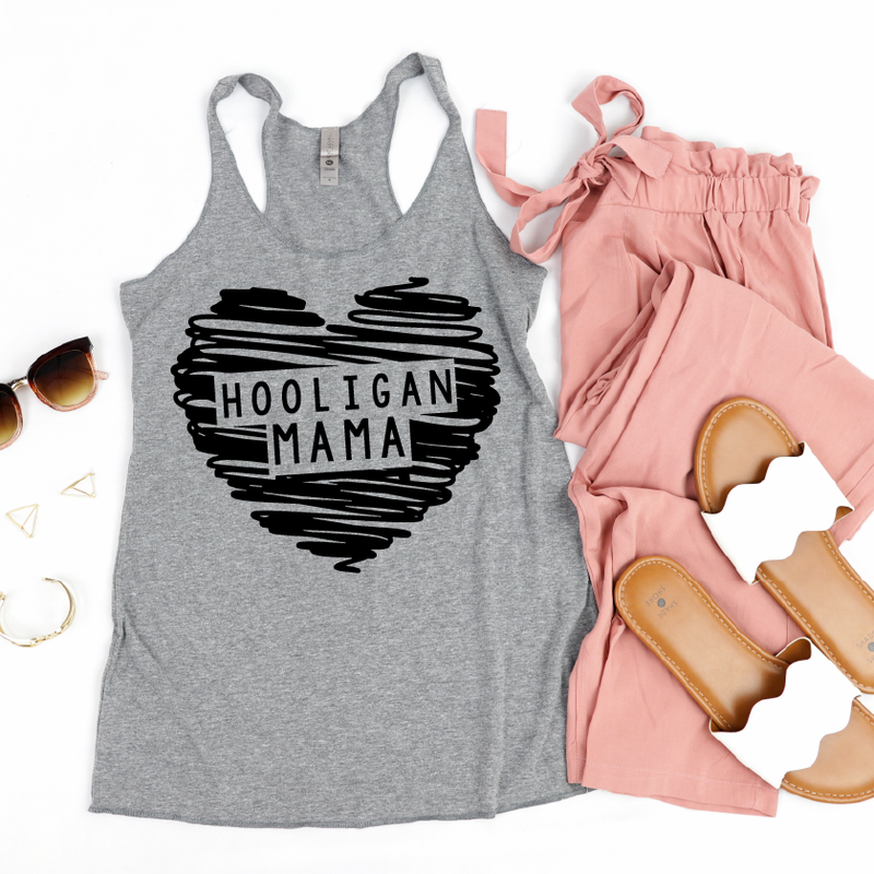 Hooligan Mama - Womens Heather Grey Tank-Little Hooligans Co.