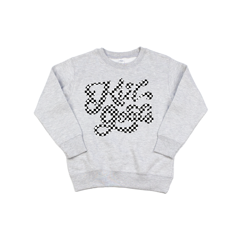 Kid Goals {checkered} - Grey Pullover-Little Hooligans Co.