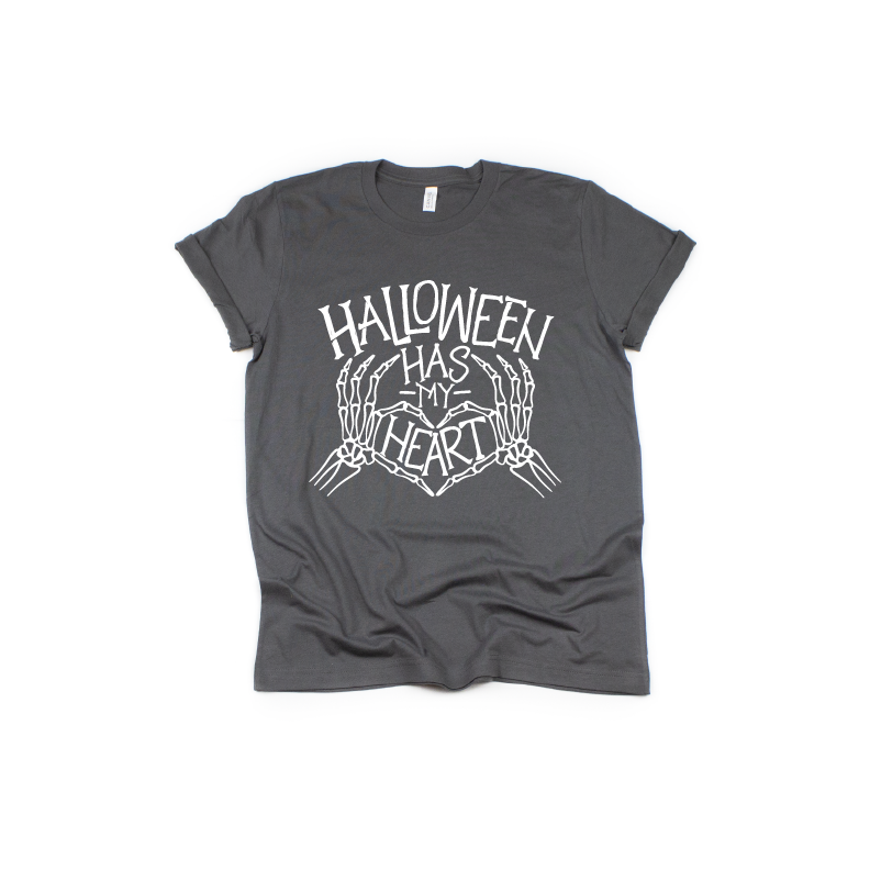 Halloween Has My Heart - Unisex Charcoal Tee-Little Hooligans Co.