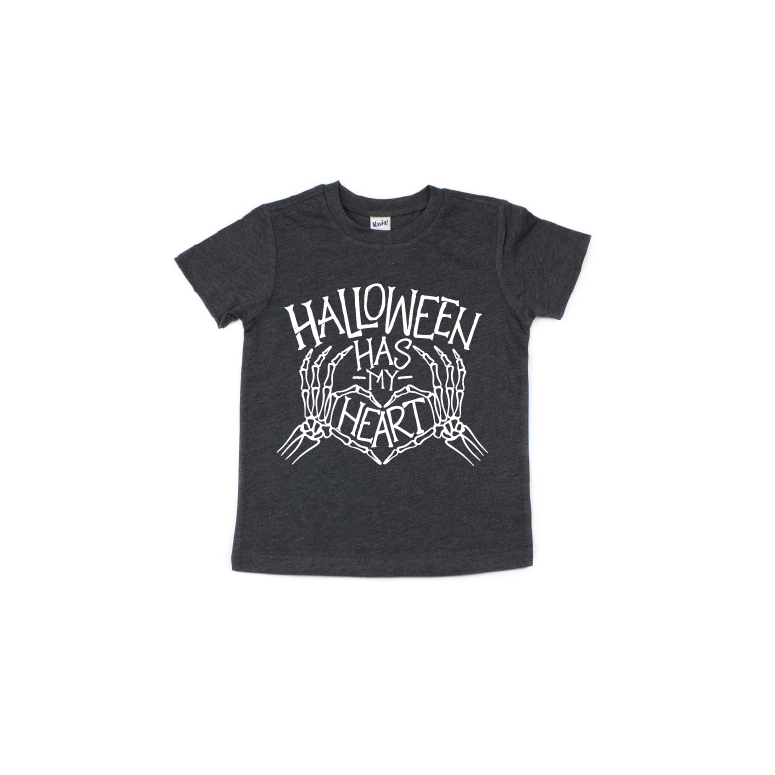Halloween Has My Heart - Kids Charcoal Tee-Little Hooligans Co.