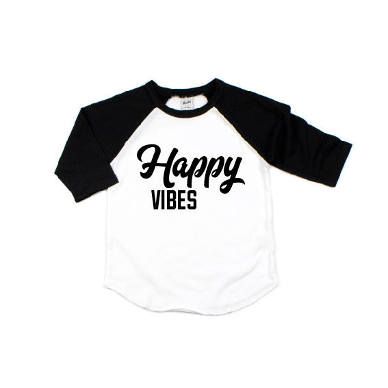 Happy Vibes - Black/White Raglan-Little Hooligans Co.