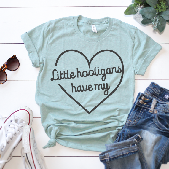 Little Hooligans Have My Heart - Unisex Dusty Blue Crewneck - Little Hooligans Co.