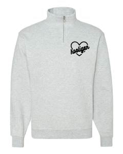 Heart Logo - Ash Quarter Zip-Little Hooligans Co.