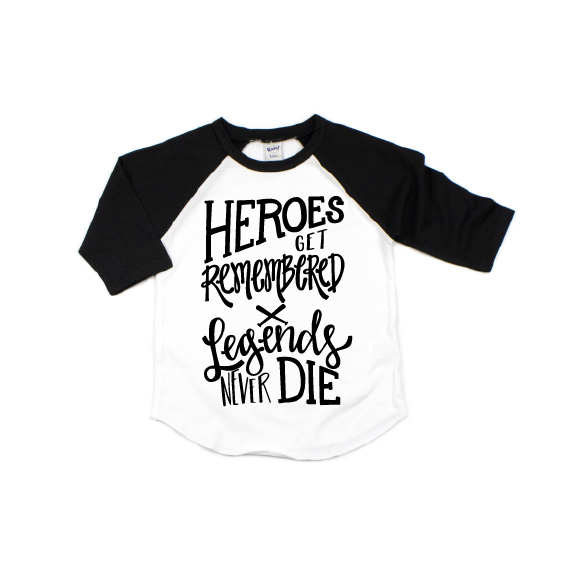 Heroes Get Remembered - Kids Raglan - Little Hooligans Co.