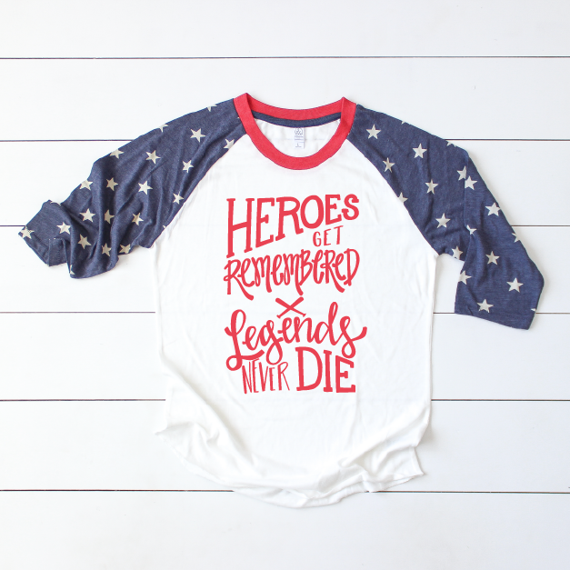 Heroes Get Remembered - Adult Stars Raglan-Little Hooligans Co.
