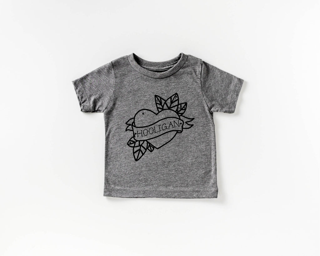 Hooligan (Black Tattoo) - Grey Crew Neck-Little Hooligans Co.