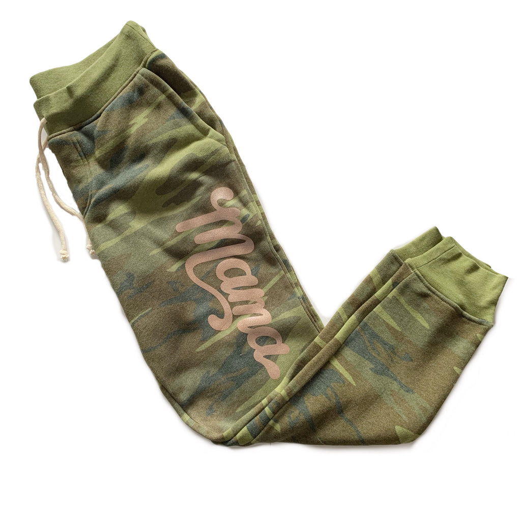 Mama - Womens Camo + Rose Gold Jogger-Little Hooligans Co.