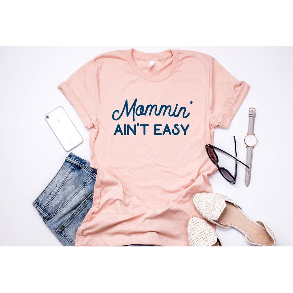 Mommin' Ain't Easy - Unisex Peach / Navy Triblend-Little Hooligans Co.