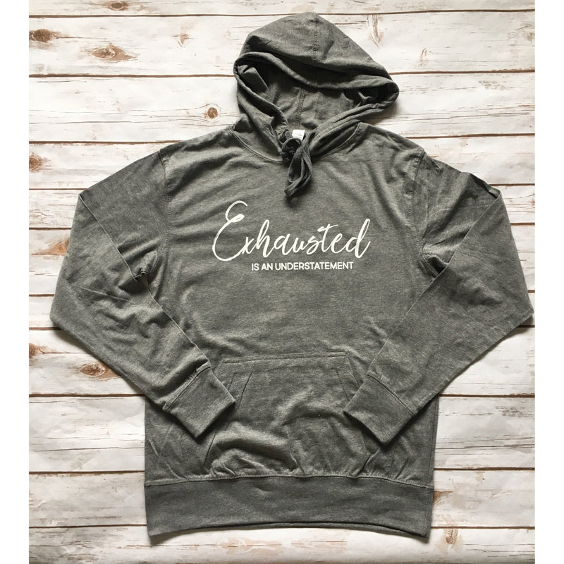 Exhausted Is An Understatement - White + Grey Unisex Lightweight Hoodie-Little Hooligans Co.